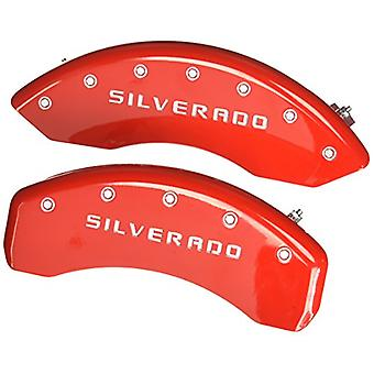 MGP Caliper Covers 14005SSILRD Caliper Cover (Red Powder Coat Finish, Engraved Front and Rear: Silverado, Silver Charact