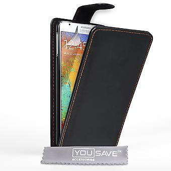 Samsung Galaxy Note 3 Neo Leder-Effekt Flip Case - schwarz