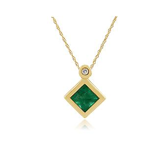Gemondo 9ct Yellow Gold 0.27ct Emerald & Diamond Pendant on Chain