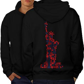 New York Statue Freedom Men BlackHoodie Back | Wellcoda