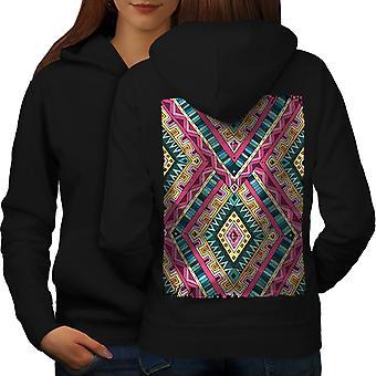 Psychedelic Pattern Women BlackHoodie Back | Wellcoda