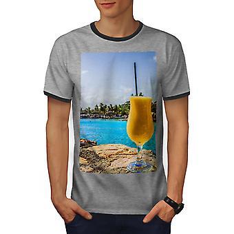 Sea Cocktail Photo Men Heather Grey / Heather Dark GreyRinger T-shirt   Wellcoda