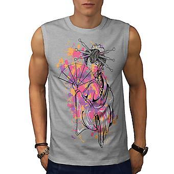 Art Girl Woman Men GreySleeveless T-shirt | Wellcoda