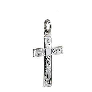 Silver 24x14mm hand engraved flat latin Cross