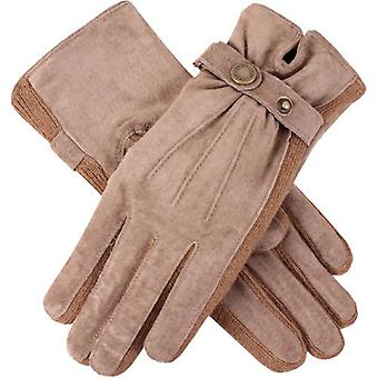 Dents Laura Strap Detail Suede Gloves  - Oatmeal Cream