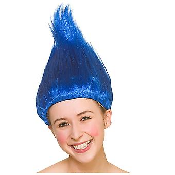 Bright Coloured Troll 90's Spiked Wig Adults Fancy Dress Accessory-Blue