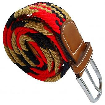 Bassin and Brown Jagged Stripe Elasticated Woven Buckle Belt - Beige/Red/Black