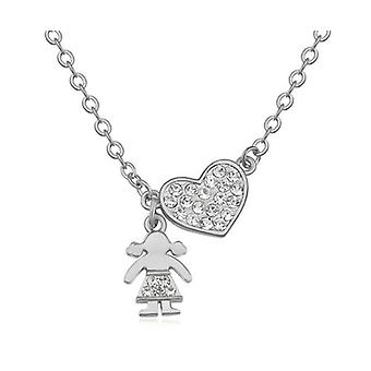 Women's Silver Heart Pendant Necklace With Girl And Heart Pendant