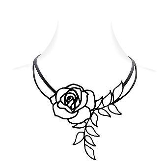 Collier Rose en Silicone Noir effet Tatouage