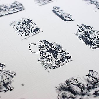Alice in Wonderland Sticker Sheet Black and White with 35 Square Stickers