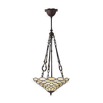 Interiors 1900 70743 Pearl Classic Tiffany 3 Light Ceiling Pendant Wit