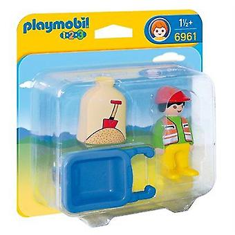 Playmobil 1.2.3 Worker With Wheelbarrow 6961