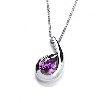 Cavendish French Silver and Amethyst CZ Comma Pendant without Chain
