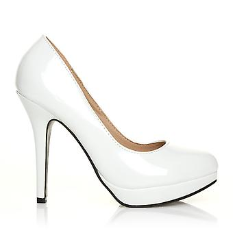 EVE White Patent PU Leather Stiletto High Heel Platform Court Shoes