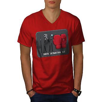 Tooth Extraction Kit Men RedV-Neck T-shirt   Wellcoda