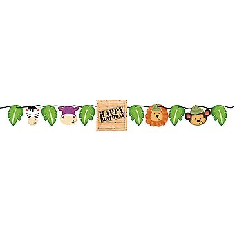 Jungle rally Garland with animal heads children birthday theme party party birthday