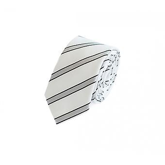 Binde slips slips slips 6cm hvid grå sort stribet Fabio Farini
