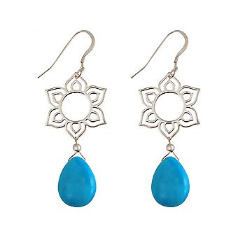 Drip Lotus Flower - mandala - turquoise - ladies - - Silver 925 - earrings - blue - YOGA - 4,5 cm