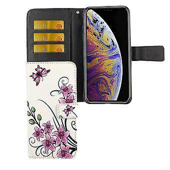 IPhone d'Apple de la couverture de protection boîtier mobile sac XS Max Flip case avec porte-cartes fleur de Lotus