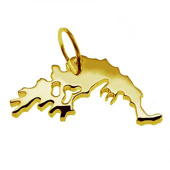 Trailer map pendants in gold yellow-gold in the form of Greece