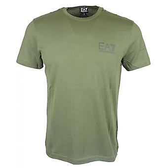 EA7 by Emporio Armani Cotton Printed Stretch Khaki T-shirt