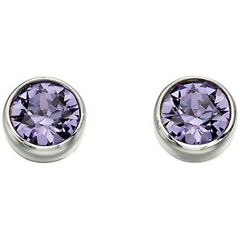 Beginnings Swarovski Round Stud Earrings - Purple/Silver