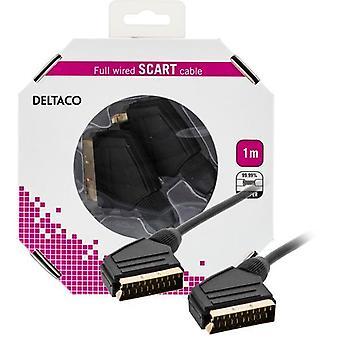 DELTACO SCART del cable, fullkopplad, ha ha, 1 m, negro