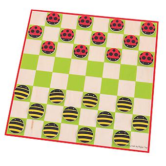 Bigjigs Toys Wooden Traditional Ladybird & Bee Draughts Game Play Set