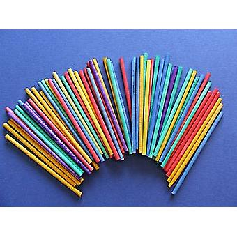 60 Coloured Mini Wooden Dowels | Wooden Shapes for Crafts