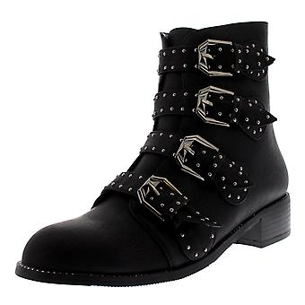 Womens Combat Strappy Block Heel Military Punk Army Retro Ankle Boots UK 3-10