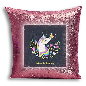 i-Tronixs - Unicorn Printed Design Rose Gold Sequin Cushion / Pillow Cover for Home Decor - 14