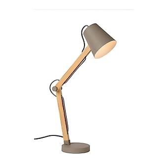 Lucide Tony Scandinavische metalen Taupe en licht hout bureaulamp