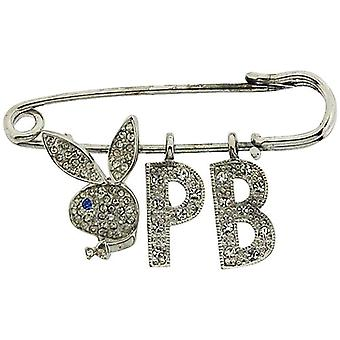 Playboy Safety Pin Clear Rhinestone Set Bunny & Initials The Ideal Gift For Him