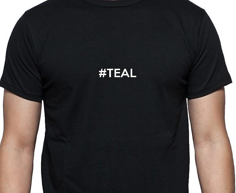 #Teal Hashag Teal Black Hand Printed T shirt
