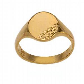 9ct guld 8x6mm damer graverad oval Signet Ring storlek L