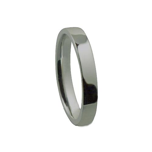 9ct White Gold 3mm plain flat Court shaped Wedding Ring Size P