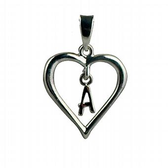 Silver heart Pendant with a hanging Initial A