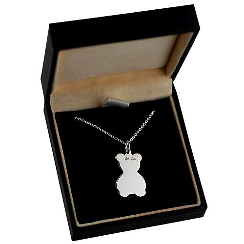 Silver 21x19mm flat Teddy Bear with a rolo Chain 16 inches Only Suitable for Children