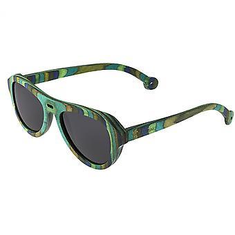 Spettro Lopez legno Polarized Occhiali da sole - striscia verde/nero