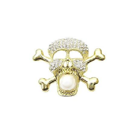 Gold Skull Head Brooch Pendant Fully Embedded Cubic Zircon Bling Bling