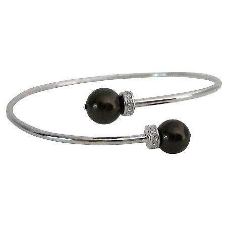 Deep Chocolate Brown Pearls Cuff Bracelet
