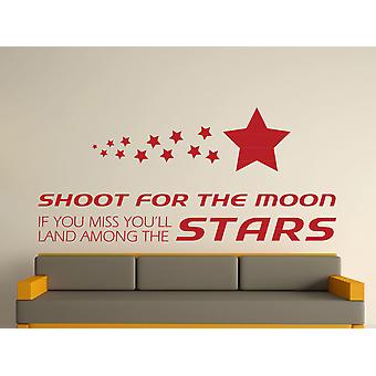 Shoot For The Moon Wall Art Sticker - Dark Red