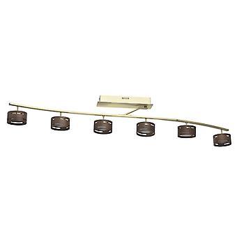 Glasberg - ledde semi infälld taklampa lätt justerbar sex i Satin guld med trä nyanser 725011006