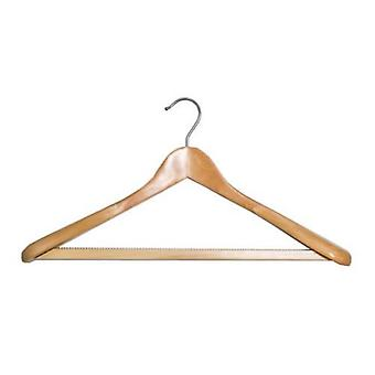 Shaped Wooden Suit Hanger with Non-slip Bar from Caraselle