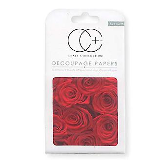 Craft Consortium Red Roses Decoupage Papers (CCDECP127)