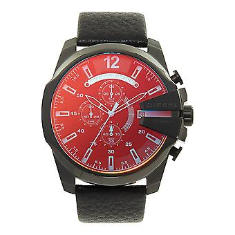 Diesel Dz4323 Mega Chief Blue & Red Dial Black Leather Chronograph Men's Watch