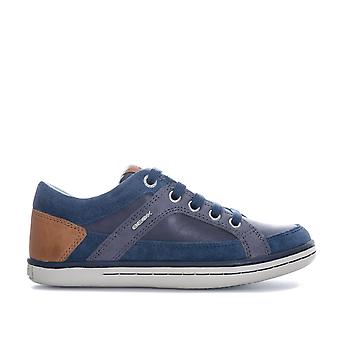 Junior Boys Geox Garcia Trainers In Navy- Lace Fastening With Zip To Side-