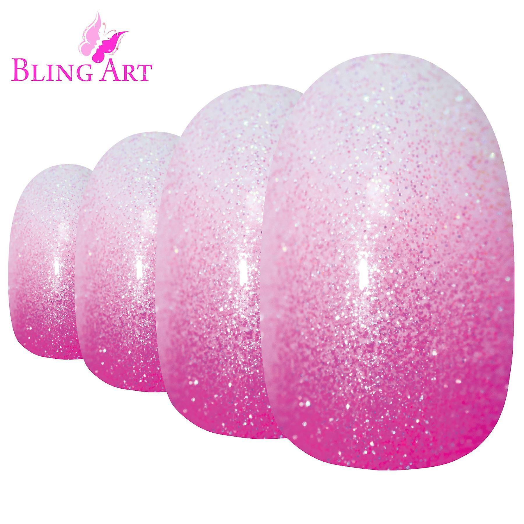 False nails by bling art pink gel ombre oval medium fake acrylic 24 tips glue - default title