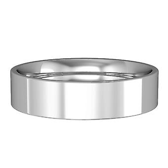 Jewelco London 9ct White Gold - 5mm Essential Flat-Court Band Commitment / Wedding Ring