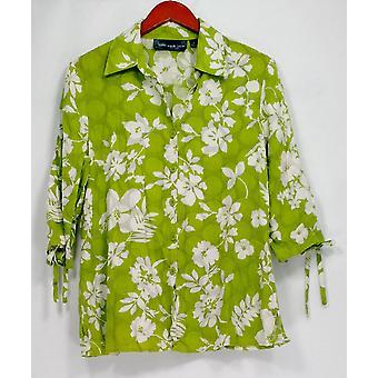 Susan Graver Top 3/4 Manica Stampata w/ Button Dettaglio Verde